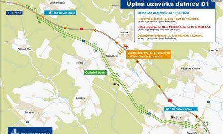 V sobotu večer se zavře část D1 u Brna, budou se bourat nadjezdy