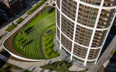 Intenzivní vegetační střecha projektu SKY PARK a postup zhotovení hydroakumulační a drenážní vrstvy